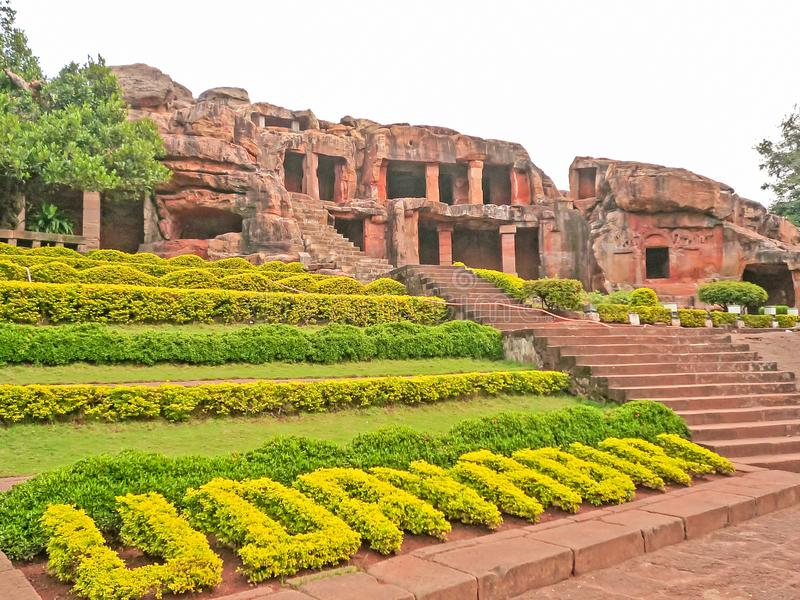 The historic place Khandariti or Kataka caves in India. Udayagiri and Khandagiri Caves, formerly called Kataka Caves or Cuttack caves, are partly natural and royalty free stock photos