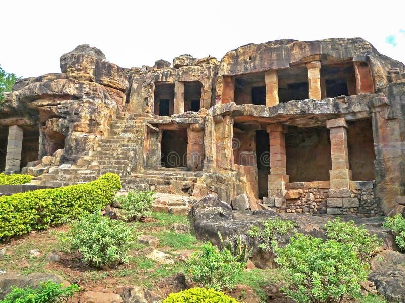 Udayagiri och Khandagiri grottor, Indien royaltyfria bilder