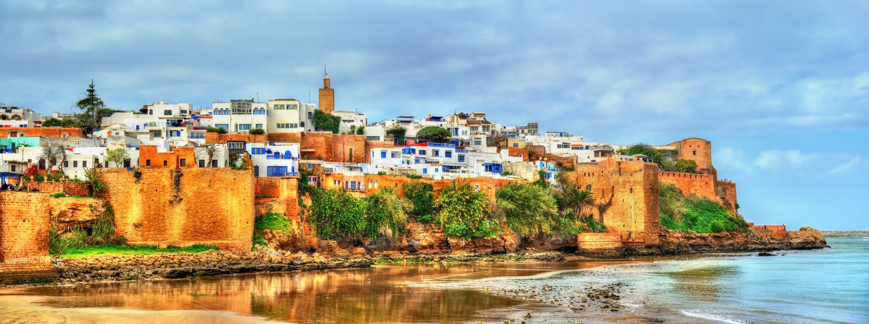 Udayas的Kasbah在拉巴特,摩洛哥 免版税库存照片