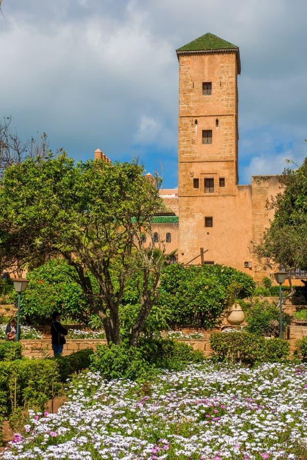 Udayas kasbah Rabat摩洛哥的安达卢西亚花园 免版税库存图片
