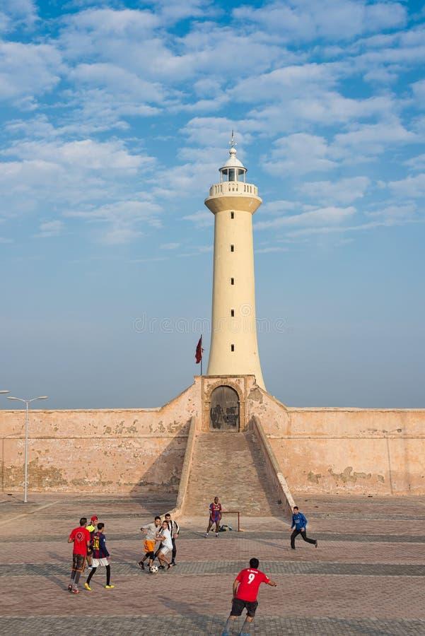 Udayas kasbah vuurtoren in de Atlantische kust van Rabat, Marokko royalty-vrije stock foto's