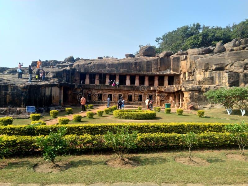 Udaygiri cave in Bhubaneshwar Odisha. Historical Udaygiri cave in Bhubaneshwar Odisha gives remarkable signs of ancient India stock image