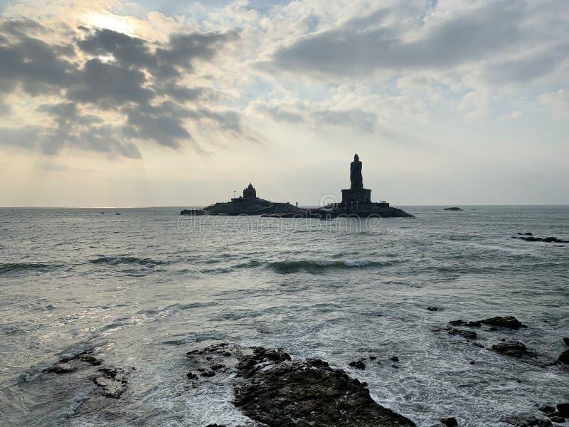 Udde Comorin Kanyakumari, Indien, västra Bengal Tamil Nadu, mars, 15, 2019 Soluppgång på udde Comorin Kanyakumari Det sydligt royaltyfri foto