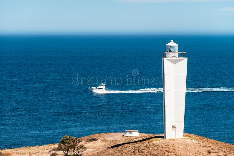 Udde Jervis Lighthouse och fartyg arkivbilder