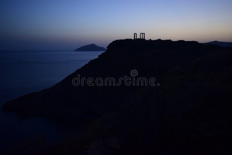 Udde Sounion gammalgrekiskatemplet av Poseidon royaltyfria bilder