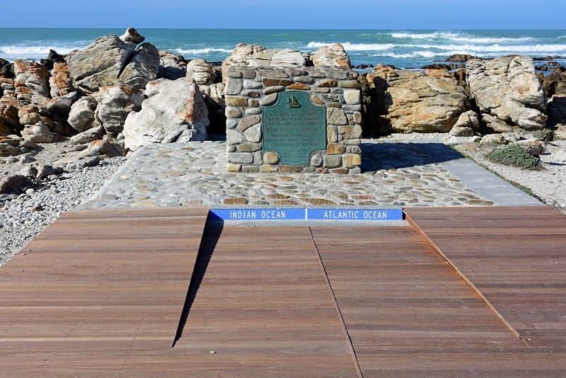 UddeAgulhas tecken, västra udde, Sydafrika arkivbilder
