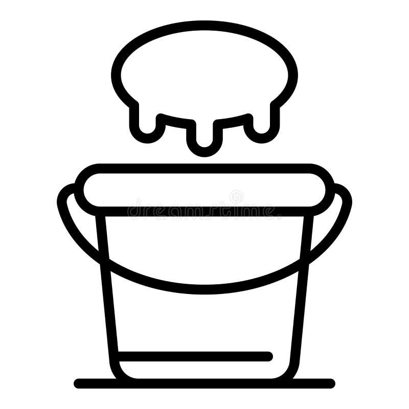 Udder and bucket icon, outline style. Udder and bucket icon. Outline udder and bucket vector icon for web design isolated on white background stock illustration