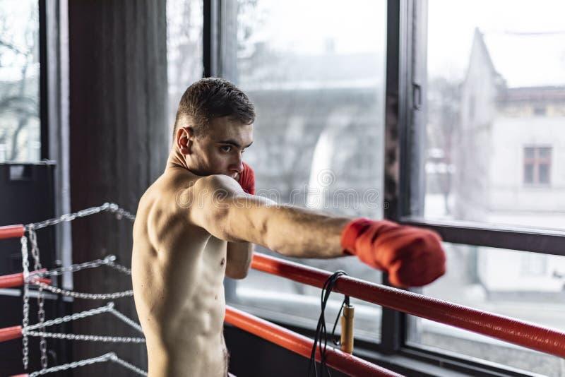 Uderzać pięścią boksera mężczyzny obrazy royalty free