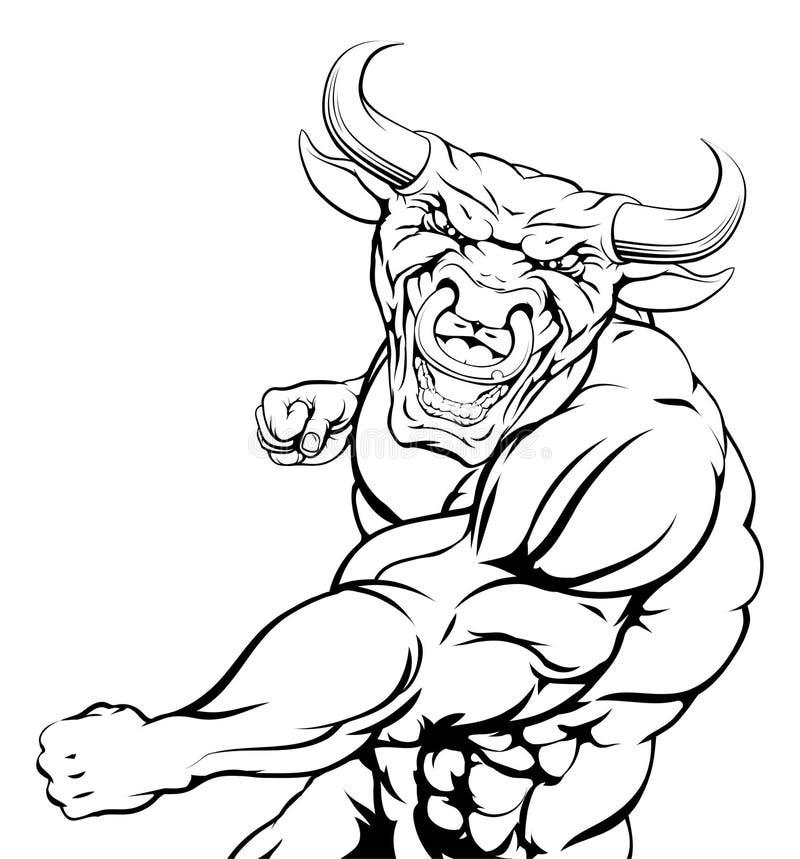 Uderzać pięścią byk maskotki ilustracji