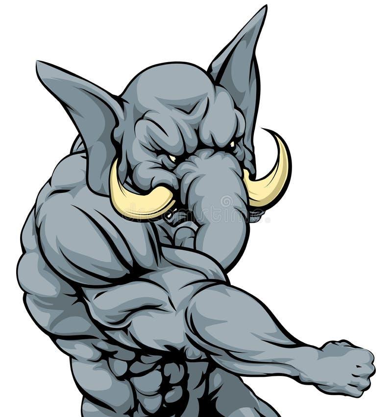 Uderzać pięścią słoń maskotki royalty ilustracja