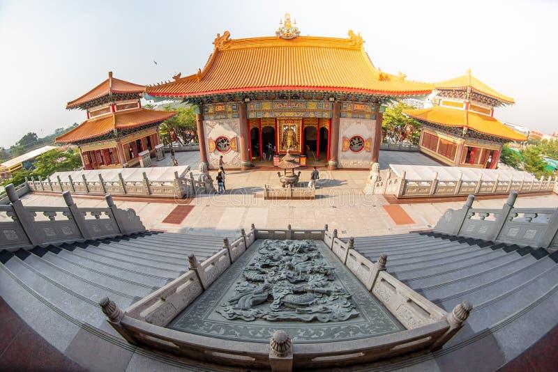 Uderzenia Bua pasek, Nonthaburi, Tajlandia - 17 2019 Stycze?: Bora Racha Kanchanaphisek Leng Nei Yi ?wi?tyni 2 ?wi?tynny miejsce  obraz stock