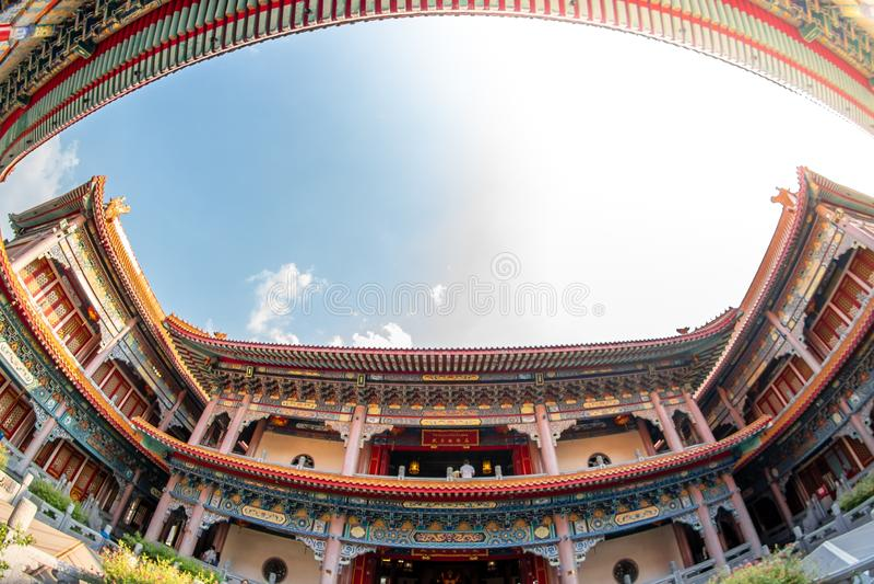Uderzenia Bua pasek, Nonthaburi, Tajlandia - 17 2019 Stycze?: Bora Racha Kanchanaphisek Leng Nei Yi ?wi?tyni 2 ?wi?tynny miejsce  zdjęcia royalty free