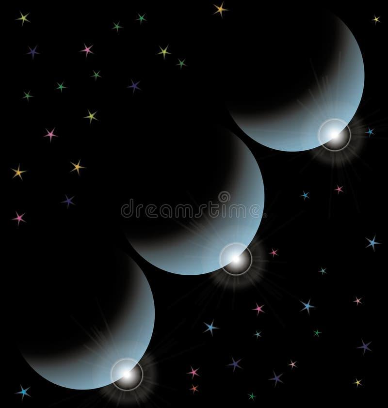 Uderzenia trzy planety przeciw kosmosowi ilustracja wektor