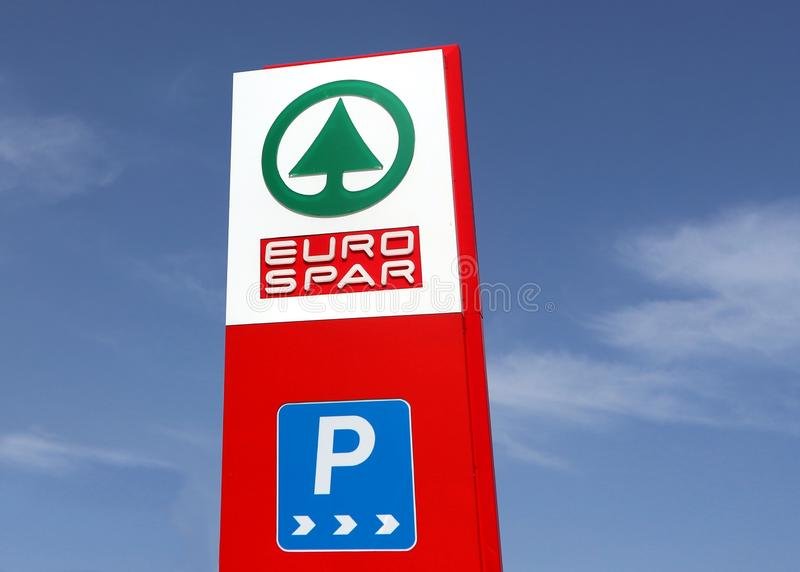 Eurospar logo on a totem sign in a recently opened retail place . It is part of the Spar multinational dutch group. Udine, Italy. April 22 2019. Eurospar logo on royalty free stock photography