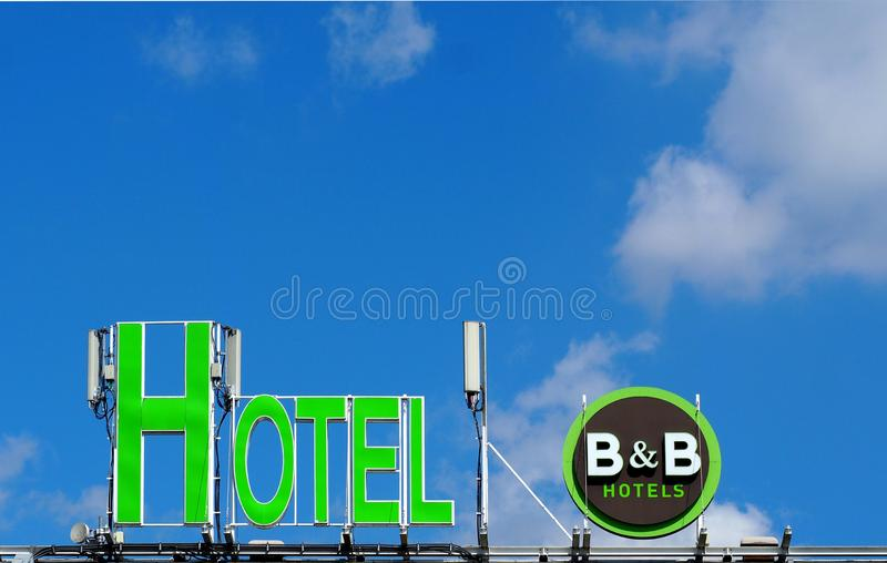 B&B Hotels logo  on the roof of the recently opened location of the french hotel chain royalty free stock photos