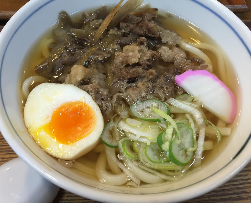 Udon noodle with beef and egg royalty free stock image