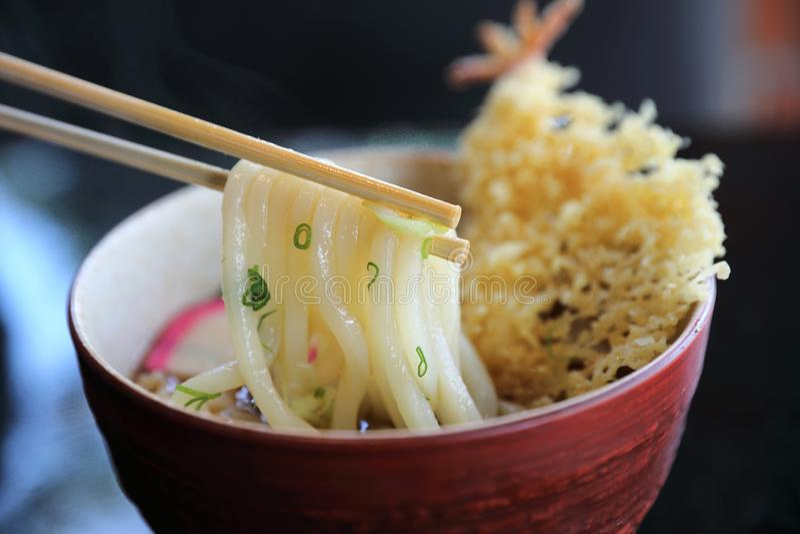 Udon noodle with fried shrimp tempura , Japanese food royalty free stock photography