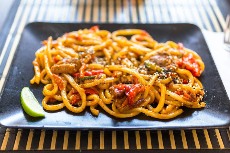 Udon noodles with duck royalty free stock images