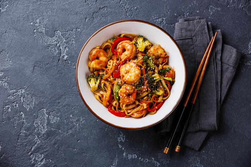 Udon noodles with shrimp in bowl royalty free stock image