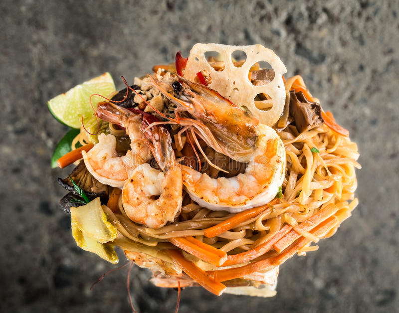 Udon noodles with shrimps royalty free stock photography