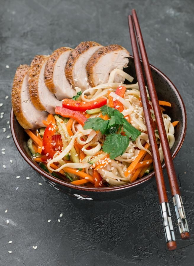 Udon noodles with vegetables royalty free stock photo