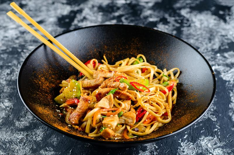 Udon noodles with vegetables, duck meet royalty free stock photography
