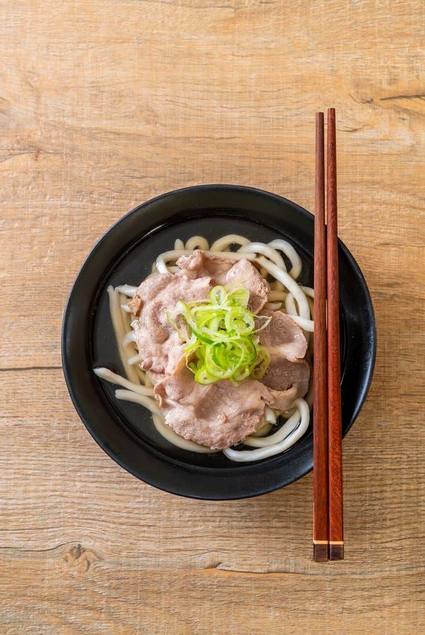 udon ramen noodle com porco (Shio Ramen) fotos de stock royalty free