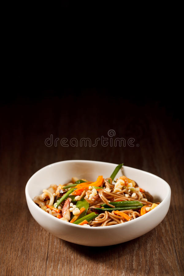 Udon with seafood royalty free stock image