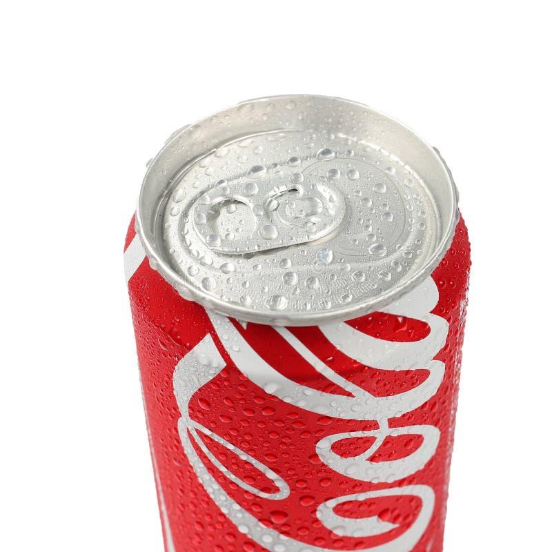 Udon Thani, Thaïlande - Octoberber 15, 2015 : Le coke peut d'isolement photographie stock libre de droits