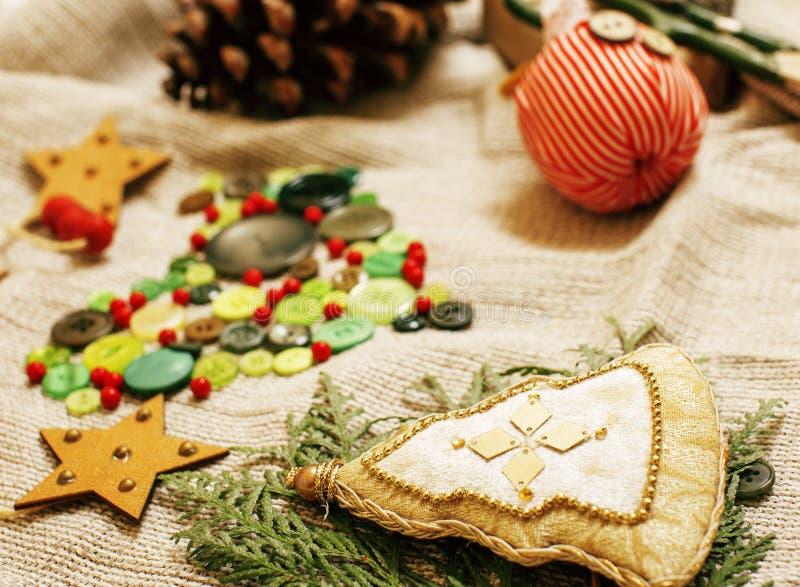 Udział materiał dla handmade prezentów, nożyce, faborek, papier z co obraz stock