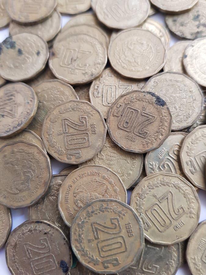udział monety 20 centów meksykańscy peso, savings i kolekcja, obrazy stock