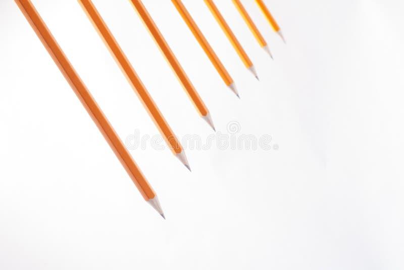 Udział ołówki przygotowywający zaczynać rysować na białym tle obraz stock
