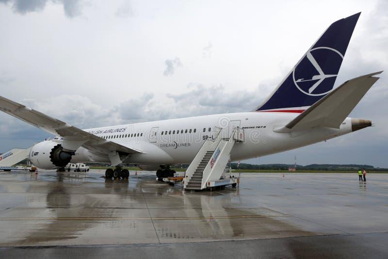 UDZIAŁ oznakujący Boeing 787 Dreamliner obraz stock