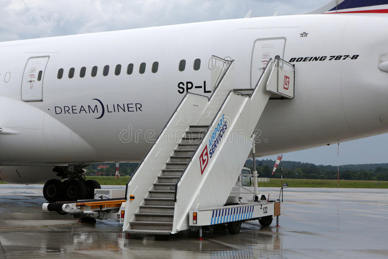 UDZIAŁ oznakujący Boeing 787 Dreamliner fotografia stock