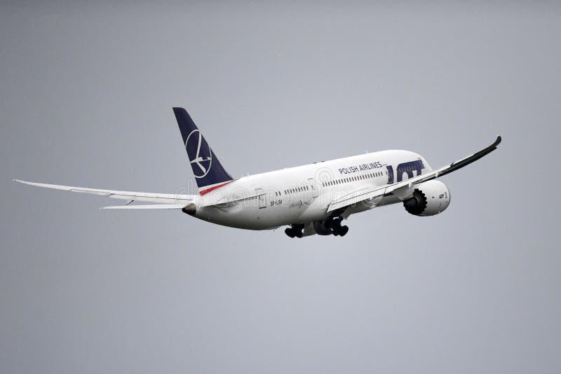 UDZIAŁ oznakujący Boeing 787 Dreamliner obrazy stock