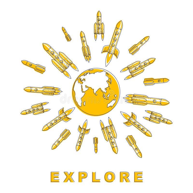 Udziały lata w przestrzeń od ziemskiej planety w różnych kierunki badać nieodkrytą przestrzeń rakiety wszczyna, eksploracja ilustracji