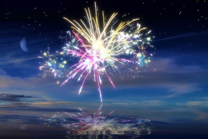 Udziały piękni kolorowi fajerwerki przed nocnym niebem fotografia stock