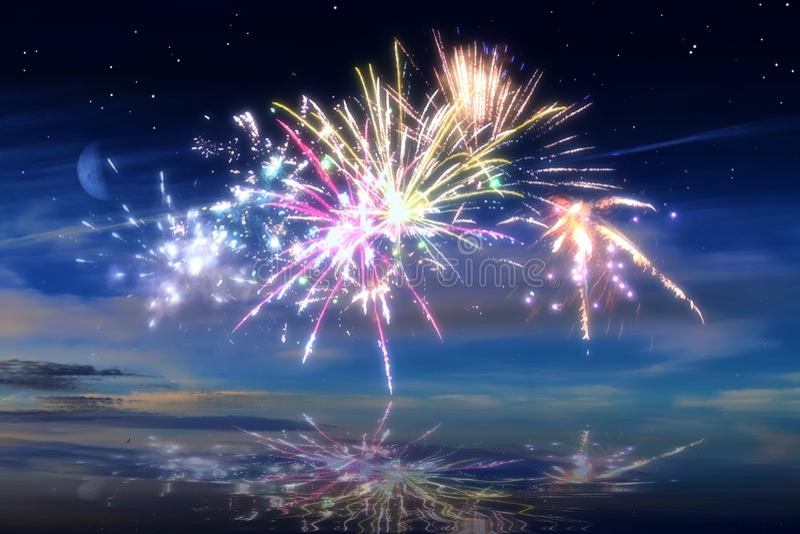 Udziały piękni kolorowi fajerwerki przed nocnym niebem obrazy stock