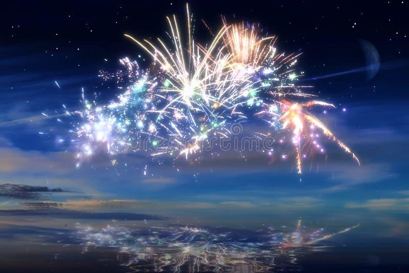 Udziały piękni kolorowi fajerwerki przed nocnym niebem fotografia royalty free