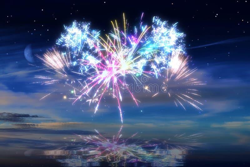 Udziały piękni kolorowi fajerwerki przed nocnym niebem obrazy royalty free