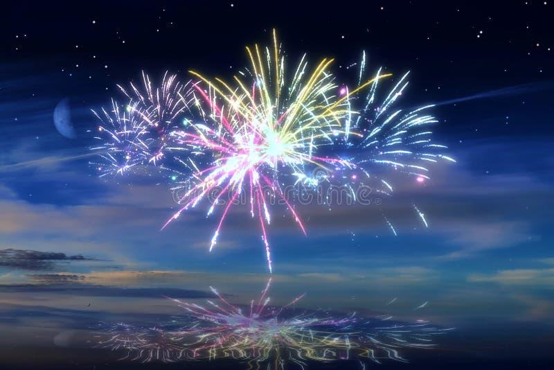Udziały piękni kolorowi fajerwerki przed nocnym niebem zdjęcie stock