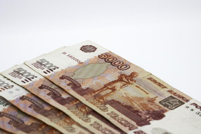 Udziały Rosyjski pieniądze banknoty przychodzący w wyznaniach pięć tysięcy banknoty w górę fotografia stock