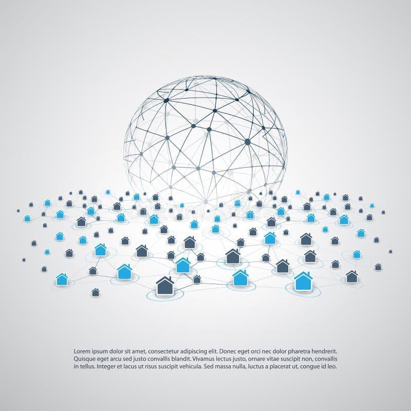 Udzielenie gospodarka - Domowy wynajmowanie, rówieśnik Przyglądać się zakwaterowanie lub Mądrze Domowego sieć projekta pojęcie ilustracja wektor