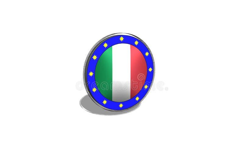 A UE abotoa-se em um botão com bandeira italiana ilustração royalty free