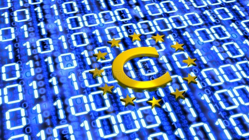 UE Copyright sumbol na błękitnej cyfrowej rozjarzonej podłodze zdjęcie royalty free