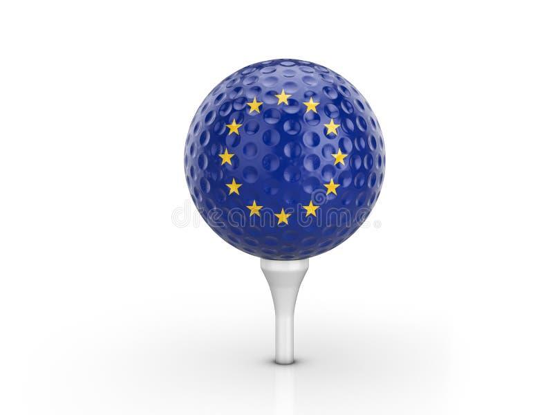 A UE da bola de golfe embandeira ilustração stock