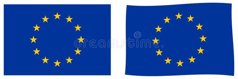 A UE da União Europeia embandeira Versão simples e levemente acenando ilustração royalty free