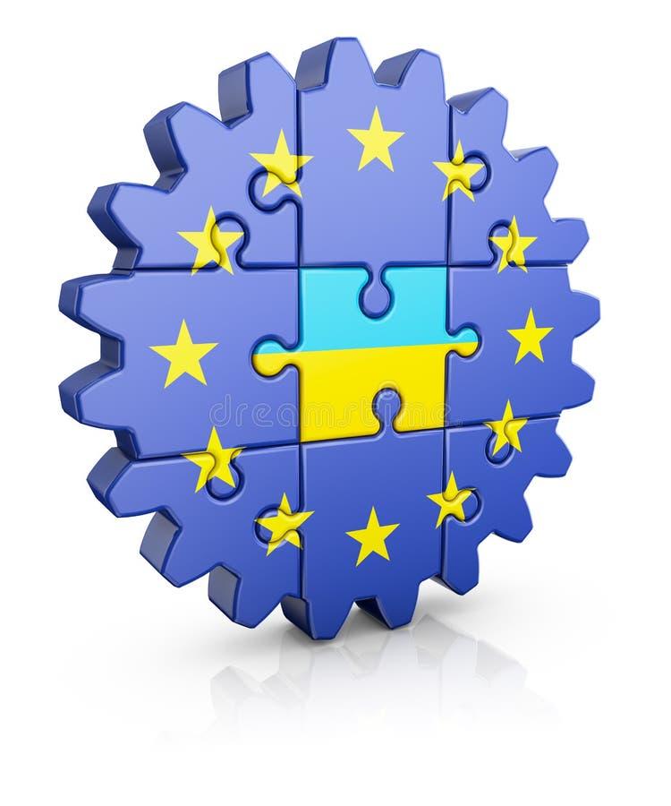 UE do enigma e ucraniano ilustração stock