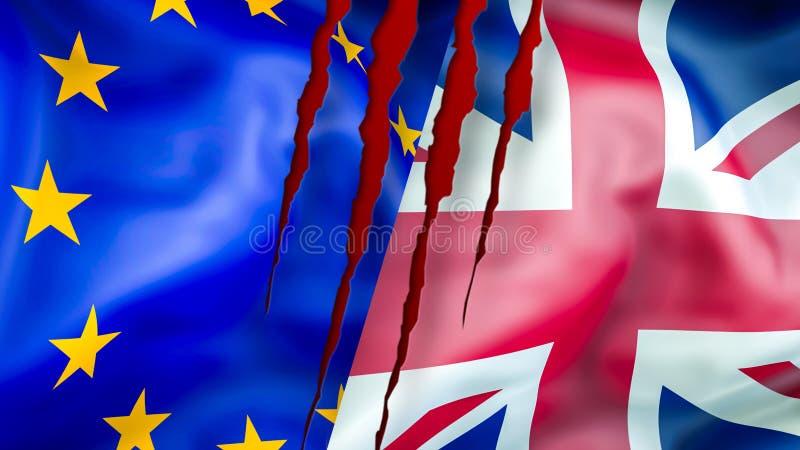 UE e bandeiras BRITÂNICAS Projeto de ondulação da bandeira de Brexit 3D Bandeira BRITÂNICA da UE, pict ilustração stock