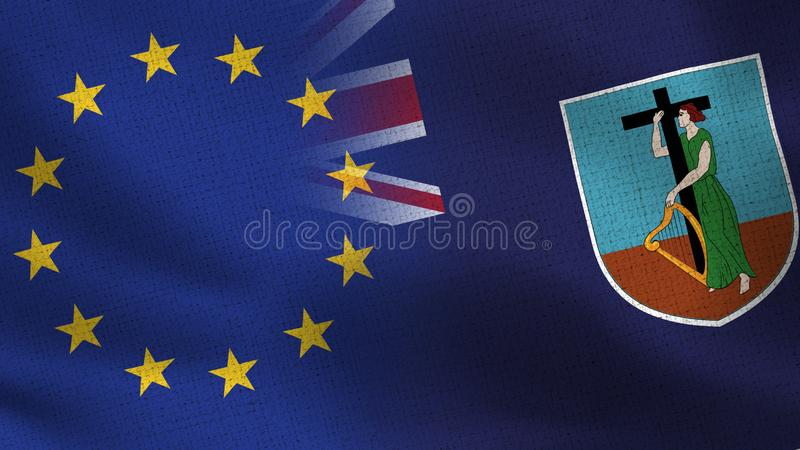 UE e Montserrat Realistic Half Flags Together fotografia de stock